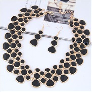 occidental style fashion  Metal concise color Modeling all-Purpose collar necklace earrings  set
