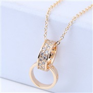 Korean style fashion  concise embed zircon sweet concise Double buckle personality woman necklace