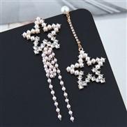 occidental style fashion  Metal all-Purpose bright Pearl star asymmetry exaggerating temperament ear stud
