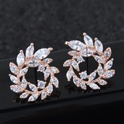 silver  Korean style fashion  concise sweetO embed Zirconium leaf personality temperament ear stud