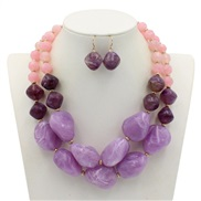 occidental style trend  Jelly color handmade beads Double layer sweater chain