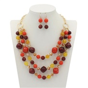 occidental style trend  exaggerating color resin multilayer necklace clavicle chain