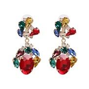 UR Alloy diamond earring high-end retro ear stud high quality glass diamond