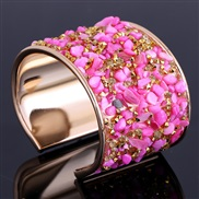 occidental style fashion gravel Rhinestone exaggerating opening width surface bangle