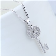 Korean style fashion  bronze embed zircon sweet key personality necklace