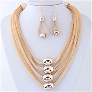 ( gold ) occidental style fashion  Metal multilayer chain temperament exaggerating necklace earrings set