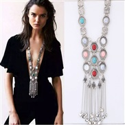 occidental style fashion  Metal concise Bohemian style exaggerating tassel temperament long necklace