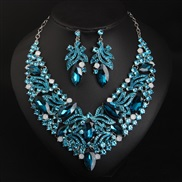 occidental style exaggerating crystal necklace earrings set woman bride