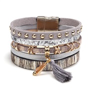 lady bracelet  fashion multilayer tassel cortex personality super width buckle bracelet bangle