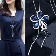 occidental style fashion  Metal bright  petal tassel temperament long necklace sweater chain