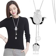 occidental style fashion  Metal tulip tassel temperament long necklace sweater chain