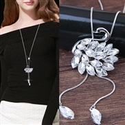occidental style fashion  Metal bright swan tassel temperament long necklace sweater chain