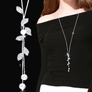 occidental style fashion  Metal leaves all-Purpose flash diamond Pearl tassel temperament long necklace sweater chain