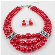 occidental style creative style multilayer Pearl necklace  Alloy diamond