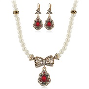 occidental style fashion exaggerating Pearl set  retro necklace earrings set  fine