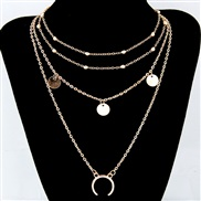 occidental style fashion  Metal all-Purpose Moon pendant multilayer beads clavicle personality necklace