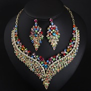 occidental style exaggerating luxurious fully-jewelled clavicle necklace earrings set woman