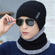 ( black) Outdoor velvet man woolen hat all-Purpose autumn Winter knitting warm two