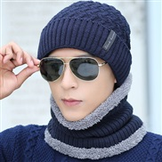 ( Navy blue) Outdoor velvet man woolen hat all-Purpose autumn Winter knitting warm two