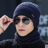 ( Navy blue)hat man Winter woolen thick Korean style knitting hedging velvet warm cotton