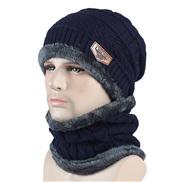 ( Navy blue)Autumn and Winter hat velvet hedging thick knitting Outdoor woolen warm bag head