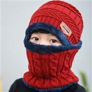 ( Red wine)Korean style thick woolen child velvet Winter warm hat two boy girl