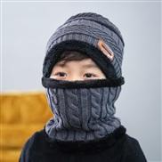 ( gray)Korean style thick woolen child velvet Winter warm hat two boy girl