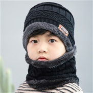 ( black)Korean style thick woolen child velvet Winter warm hat two boy girl