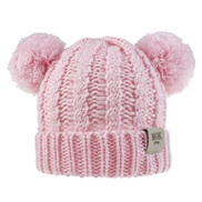 ( Pink)child hat woolen knitting Autumn and Winter twisted weave Double hat man woman