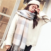 (H while  gray )autumn Winter Collar man Korean style imitate sheep velvet grid scarf lady pure color shawl