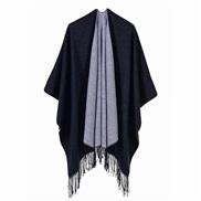 ( black)occidental style head lady big scarf autumn Winter all-Purpose warm two color tassel shawl
