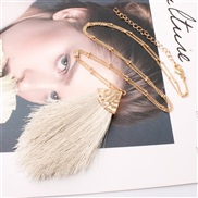 (Rice white )Double occidental style Alloy tassel spring color lady medium long style sweater necklace