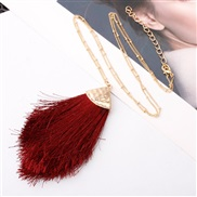 ( Burgundy)Double occidental style Alloy tassel spring color lady medium long style sweater necklace