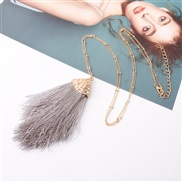 ( gray)Double occidental style Alloy tassel spring color lady medium long style sweater necklace