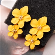 ( yellow)creative arring occidental style personality trend multicolor Double layer flowers ear stud brief sweet earring