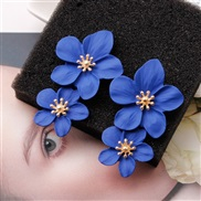 ( blue)creative arring occidental style personality trend multicolor Double layer flowers ear stud brief sweet earrings