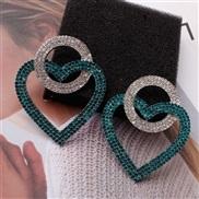 ( green)diamond exaggerating earrings fashion Peach heart occidental style wind earring love crystal same style Earring