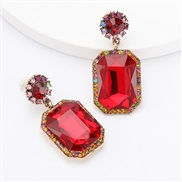 ( red)earrings Autumn and Winter occidental style exaggerating Alloy diamond Rhinestone glass diamond earrings woman geo