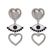 ( Silver) Alloy geometry eyes earrings occidental style  trend exaggerating personality big long style earring