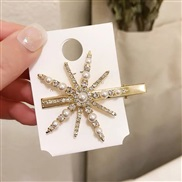 ( Gold) big hair clip woman Korea temperament Pearl diamond head fashion snowflake
