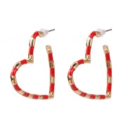 ( red)fashion heart-shaped color earrings occidental style wind fashion love ear stud