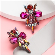 ( rose Red)occidental style exaggerating personality Rhinestone glass diamond diamond earrings woman retro temperament f