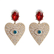 occidental style fashion temperament heart-shaped ear stud creative diamond gem eyes earrings