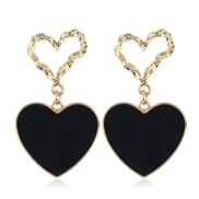 occidental style fashion Metal  concise Double love temperament exaggerating ear stud