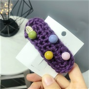 (purple)autumn Winter woolen hair clip Round woman color candy colors head
