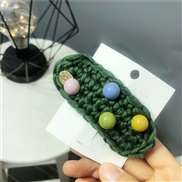 (Dark green)autumn Winter woolen hair clip Round woman color candy colors head