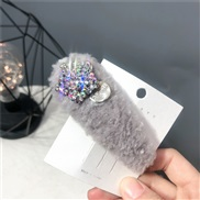 ( gray)Autumn and Winter velvet velvet hair clip  pure color Five-pointed star fully-jewelled  triangle star