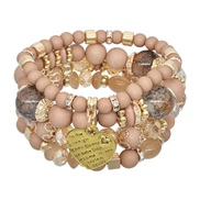 (Y )occidental style exaggerating Bohemia Peach heart four layer crystal bracelet woman handmade beads bullet rope