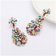 ( Color) Autumn and Winter arring multilayer Alloy diamond Rhinestone flowers personality occidental style earrings woma