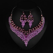 (purple)occidental style exaggerating ornament necklace clavicle chain fashion short style woman retro luxurious all-Pur